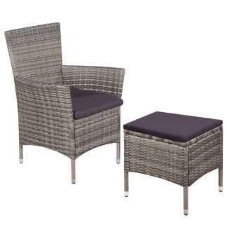 vidaXL Lauko kėdė ir taburetė su pagalvėlėmis, poliratanas, pilka