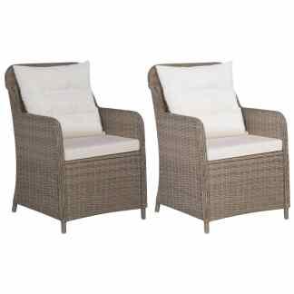 vidaXL Lauko kėdės su pagalvėlėmis, 2vnt., rudos sp., poliratanas