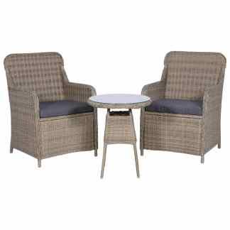 vidaXL Bistro baldų komplektas su pagalvėmis, 3d., rudas, polirat.