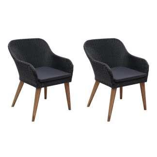 vidaXL Lauko kėdės su pagalvėlėmis, 2vnt., juodos sp., poliratanas