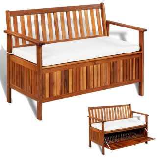 vidaXL Sodo suoliukas-daiktadėžė, akacijos medienos mas., 120x63x84cm