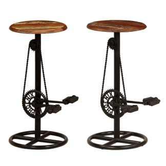 vidaXL Baro kėdės, 2vnt., perdirbtos medienos masyvas, 38x76cm