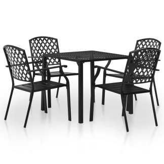 vidaXL Lauko valgomojo baldų komplektas, 5d., juodas, plienas