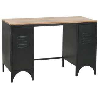 vidaXL Dvig. rašomasis stalas, eglės med. masyv., plienas, 120x50x76cm