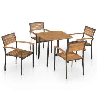 vidaXL Lauko valgomojo baldų komp., 5d., akacijos med. mas. ir plien.