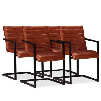 vidaXL Valgomojo kėdės, 4vnt., tikra oda, rudos