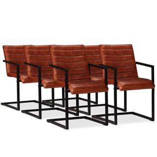 vidaXL Valgomojo kėdės, 6vnt., tikra oda, ruda spalva