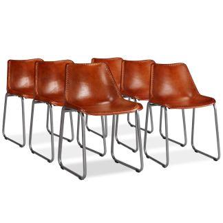 vidaXL Valgomojo kėdės, 6vnt., tikra oda, rudos