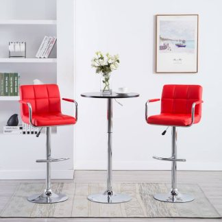vidaXL Baro kėdės su porankiais, 2vnt., dirbtinė oda, raudonos