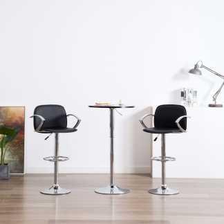 vidaXL Baro kėdės su porankiais, 2vnt., juodos, dirbtinė oda