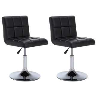 vidaXL Besisuk. valgom. kėdės, 2vnt., dirbt. oda, 50x43x85cm, juodos