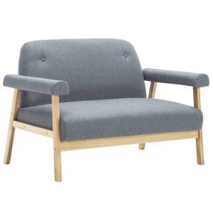 Dvivietė sofa, audinys, šviesiai pilkos spalvos