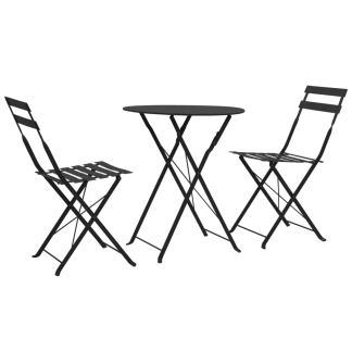 vidaXL Bistro baldų komplektas, 3d., juodas, plienas