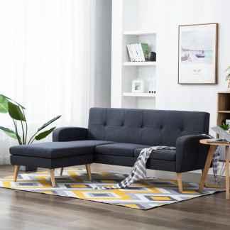 vidaXL L-formos sofa, audinio apmušalas, 186x136x79 cm, tamsiai pilka