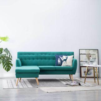 vidaXL L-formos sofa, aud. apmušal., 171,5x138x81,5cm, žalia