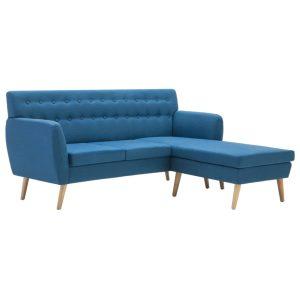 L-formos sofa, aud. apmušal., 171,5x138x81,5cm, mėlyna