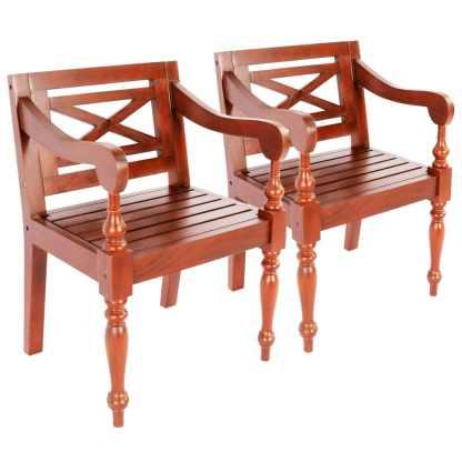 vidaXL Batavia kėdės, 2 vnt., raudonmedžio masyvas, tamsiai rudos sp.
