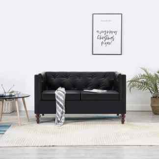 vidaXL Dvivietė chesterfield sofa, juoda, dirbtinės odos apmušalas