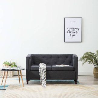 vidaXL Dvivietė Chersterfield sofa, tamsiai pilka, audinys