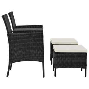 Dvivietė sodo sofa su arbatiniu staliuku, juoda, poliratanas
