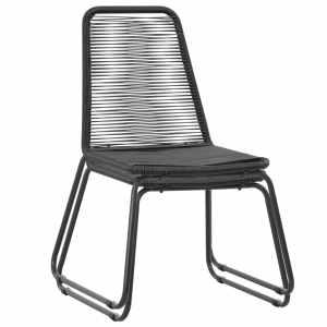 5d. Lauko valgomojo baldų komplektas, poliratanas, juodas