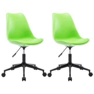 vidaXL Besisukančios valgomojo kėdės, 2vnt., žalios, dirbtinė oda
