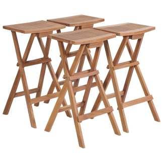 vidaXL Sulankstomos baro kėdės, 4 vnt., tikmedžio medienos masyvas