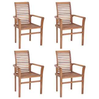 vidaXL Viena ant kitos sukr. valg. kėdės, 4 vnt., tikmedž. med. mas.