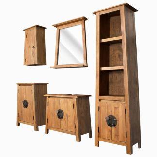 vidaXL Vonios kambario komplektas, 5d., perdirbt. pušies mediena