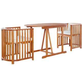 vidaXL Bistro baldų komplektas su pagalv., 3d., eukalipto med. masyv.