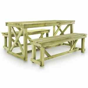 vidaXL Alaus stalas su 2 suoliukais, FSC mediena