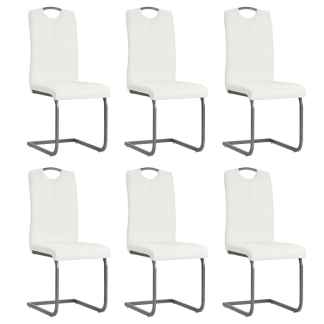 vidaXL Valgomojo kėdės, 6vnt., dirbtinė oda, 43x55x100cm, baltos