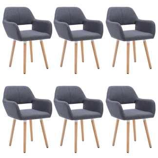vidaXL Valgomojo kėdės, 6vnt., aud. apmuš., 56x54x80cm, tamsiai pilk.