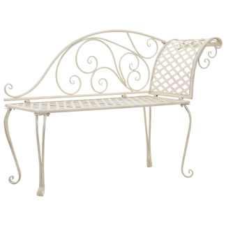 vidaXL Sodo poilsio gultas, baltas, 128 cm, metalas, sen. stiliaus