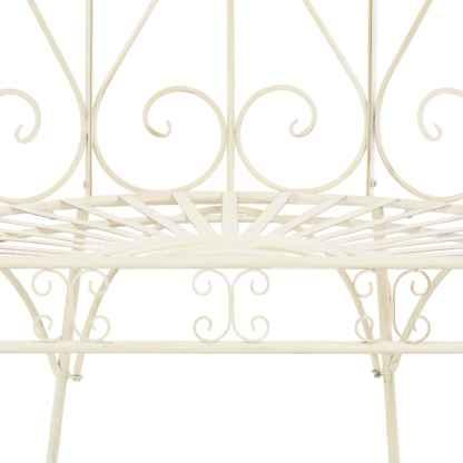 Sodo suoliukas, baltas, 95 cm, geležis, senovinio stiliaus