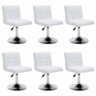 vidaXL Besisuk. valgom. kėdės, 6vnt., dirbt. oda, 50x43x85cm, baltos