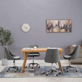 vidaXL Valgomojo kėdės su ratukais, 4 vnt., audinys, šviesiai pilkos