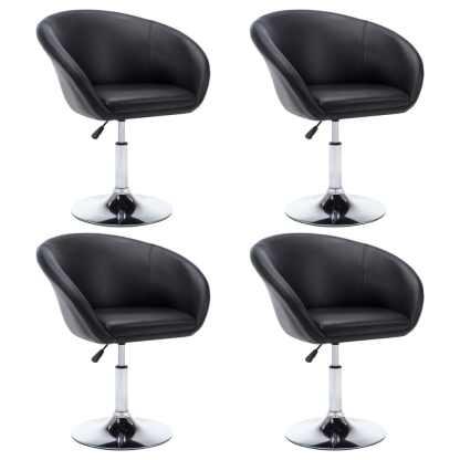 vidaXL Besisuk. valg. kėdės, 4vnt., dirbt. oda, 67,5×58,5x87cm, juod.