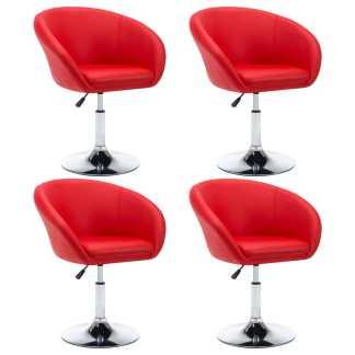 vidaXL Besisuk. valg. kėdės, 4vnt., dirbt. oda, 67,5×58,5x87cm, raud.