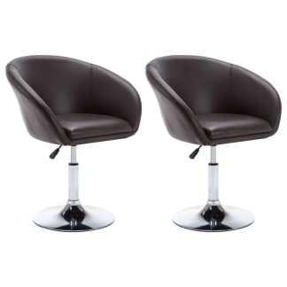 vidaXL Besisuk. valg. kėdės, 2vnt., dirbt. oda, 67,5×58,5x87cm, rudos