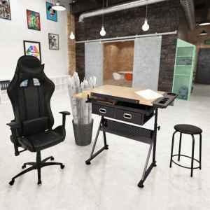 vidaXL Pakr. stalvirš. pieš. stal. su biuro kėdė su rat.