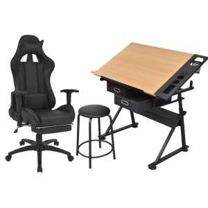 Pakr. stalvirš. pieš. stal. su biuro kėdė su rat.