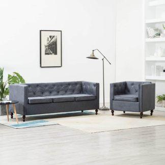 vidaXL Chesterfield sofos kompl., 2d., pilkos sp., audinio apmuš.