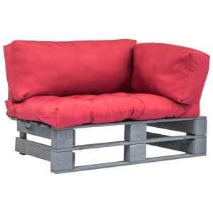 vidaXL Sodo sofa iš palečių su raud. sp. pagalvėlėmis, FSC pušies med.
