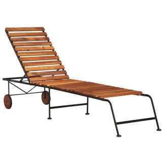 vidaXL Saulės gultas su plieninėmis kojelėmis, akacijos med. masyvas