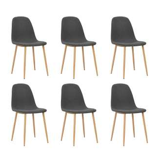 vidaXL Valgomojo kėdės, 6vnt., tams. pilk. sp., 45x55x85cm, audinys
