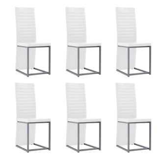 vidaXL Valgomojo kėdės, 6vnt., baltos, 38,5x52x100,5cm, dirbtinė oda