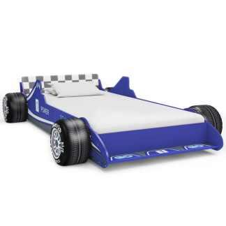 vidaXL Vaikiška lova lenktyninė mašina, 90×200 cm, mėlyna