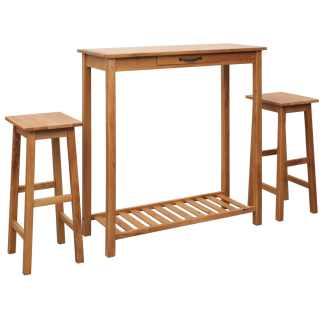 vidaXL Baro baldų komplektas, 3d., tikmedž. medienos masyvas
