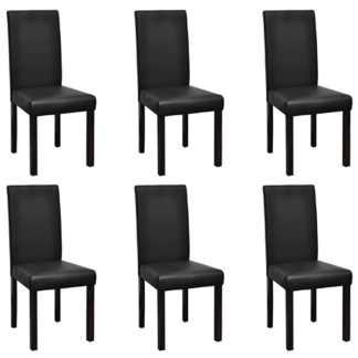 vidaXL Valgomojo kėdės, 6vnt., juodos spalvos, dirbtinė oda